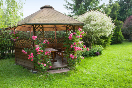 Outdoor wooden gazebo with roses and summer landscape background Banque d'images