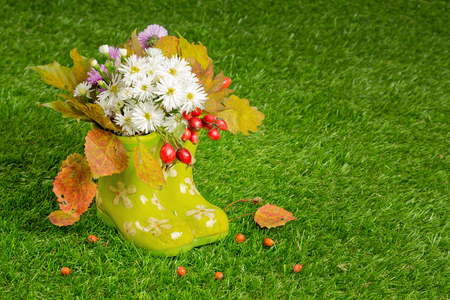 Beautiful bunch of autumn  in rubber boots on the grass