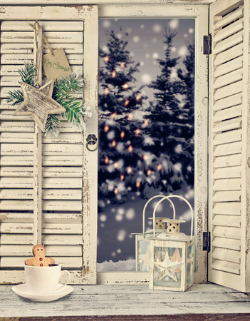 snow forest: rustic wooden window overlook christmas landscape and decoration