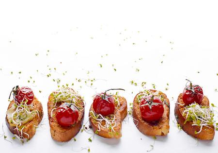 Sandwich toasts with tomatoes Archivio Fotografico