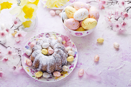 Easter cake and easter eggs Stock Photo