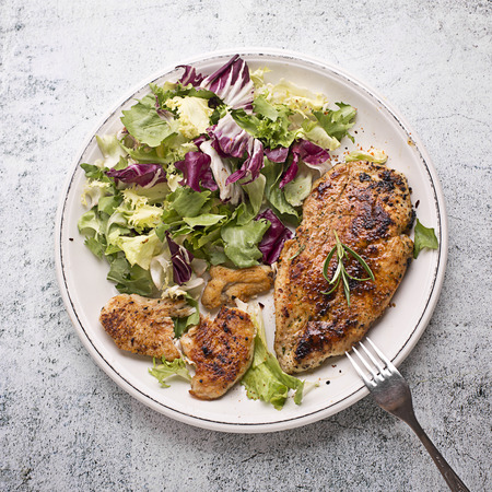 roasted chicken breast with lettuce