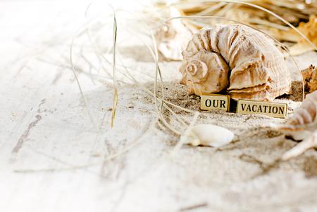 Summer holiday frame with seashells Stock Photo
