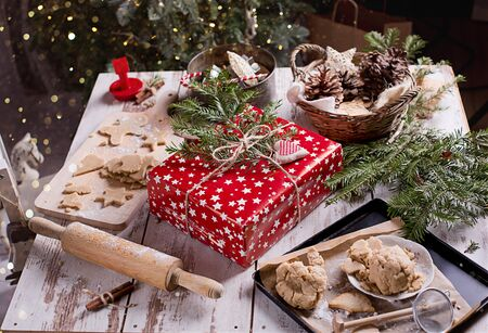 Christmas bakingl on the table