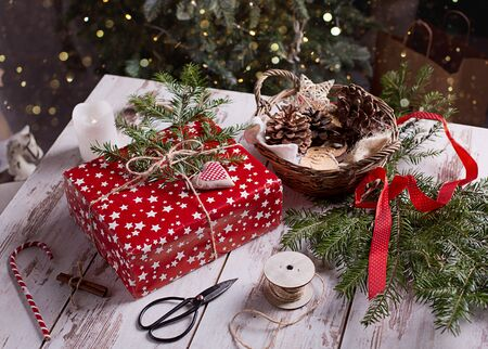 Christmas presents with handmade decoration Imagens