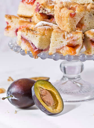 Portion of Plum Cake on a plate