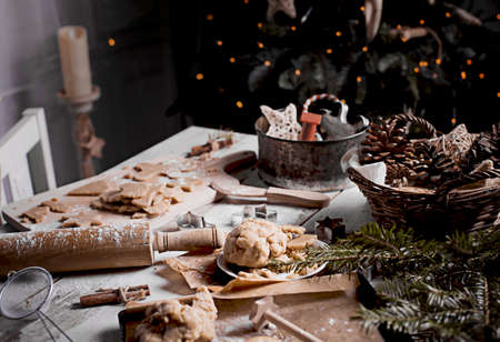 Baking cookies with spices in christmas time