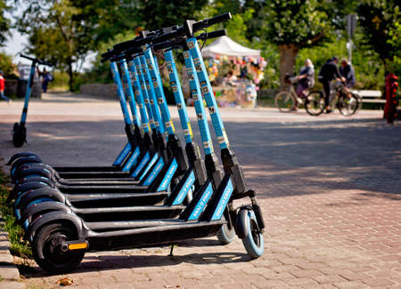 SOPOT, POLAND -september 13, 2020: Electric urban transportation on the street city 新聞圖片