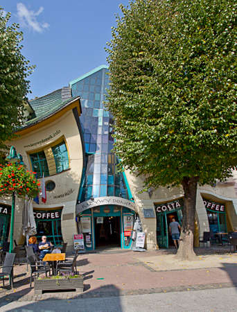 Sopot, Poland, 13 august, 2020 - Crooked House, commercial building at Heroes of Monte Cassino street
