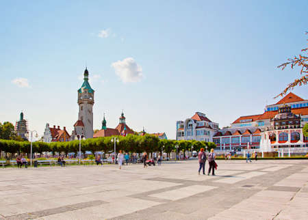 Sopot, Poland - September 13, 2020: Beautiful architecture of Sopot at Baltic sea, Poland. 新聞圖片