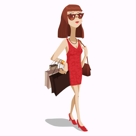 Beautiful woman carrying lots of shopping bags and wearing sexy flowering. Ilustração