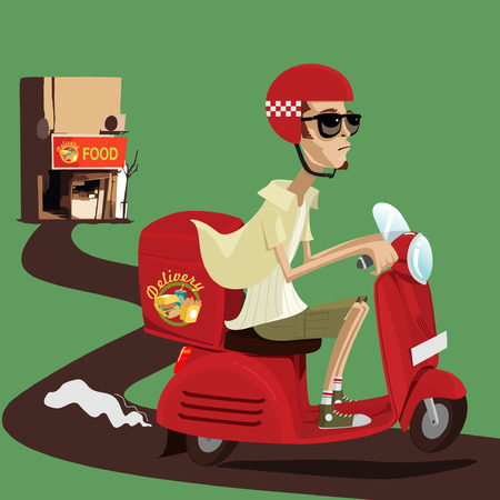 Food and drink delivery man riding red scooter Stock Vector - 68179634