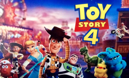Portugal, Algarve. Circa, 26 July 2019, Promotional poster of the Disney Pixar animated film Toy Story 4. The movie is out now in Cinemas around Portugal
