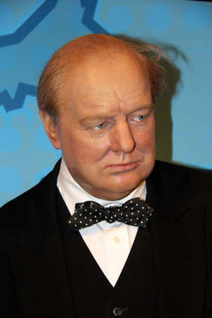 London, - United Kingdom, 08, July 2014. Madame Tussaud's in London.  Waxwork statue of Winston Churchill . Created by Madam Tussaud's in 1884., Madam Tussaud's is a waxwork museum and tourist attraction.
