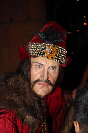 London, - United Kingdom, 08, July 2014. Madame Tussauds in London.  Waxwork statue of Vlad the Impaler. Created by Madam Tussauds in 1884, Madam Tussauds is a waxwork museum and tourist attraction. 新闻类图片