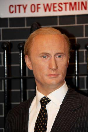 London, - United Kingdom, 08, July 2014. Madame Tussaud's in London.  Waxwork statue of Vladimir Putin . Created by Madam Tussaud's in 1884., Madam Tussaud's is a waxwork museum and tourist attraction. 新闻类图片