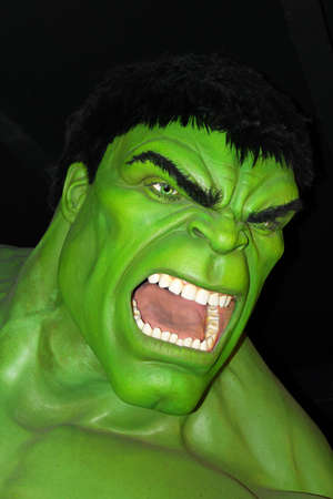 London, - United Kingdom, 08, July 2014. Madame Tussauds in London. Waxwork statue of The Incredible Hulk . Created by Madame Tussauds in 1884, Madam Tussauds is a waxwork museum and tourist attraction exhibiting celebrity life size wax statues.