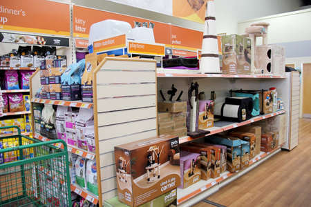 England, Kent, Orpington – Circa July 2014:  Huge selection of pet products for sale in a pet supermarket in England. Editorial