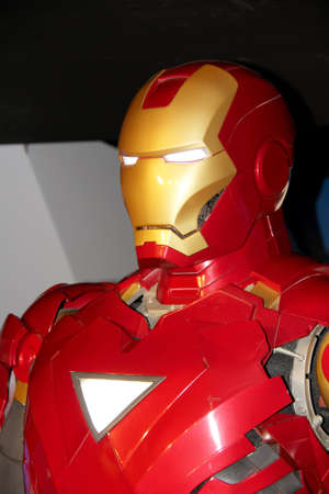 London, - United Kingdom, 08, July 2014. Madame Tussauds in London.  Waxwork statue of Iron Man. Created by Madam Tussauds in 1884, Madam Tussauds is a waxwork museum and tourist attraction 新闻类图片