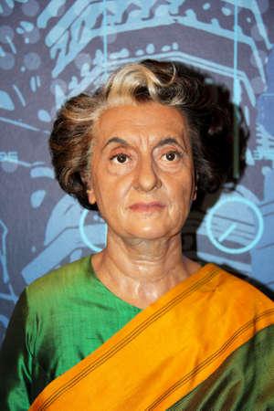 London, - United Kingdom, 08, July 2014. Madame Tussauds in London.  Waxwork statue of Indira Gandhi.  Created by Madam Tussauds in 1884, Madam Tussauds is a waxwork museum.