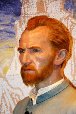 London, - United Kingdom, 08, July 2014. Madame Tussauds in London.  Waxwork statue of Vincent Van Gogh. Created by Madam Tussauds in 1884, Madam Tussauds is a waxwork museum and tourist attraction