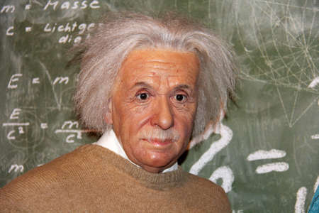 London, - United Kingdom, 08, July 2014. Madame Tussauds in London.  Waxwork statue of Albert Einstein.  He developed the general theory of relativity. Created by Madam Tussauds in 1884.
