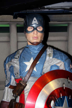 London, - United Kingdom, 08, July 2014. Madame Tussauds in London.  Waxwork statue of Captain America, Created by Madam Tussauds in 1884, Madam Tussauds is a waxwork museum and tourist attraction