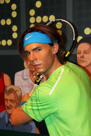 London, - United Kingdom, 08, July 2014. Madame Tussauds in London.  Waxwork statue of  Rafael Nadal. Created by Madam Tussauds in 1884. Madam Tussauds is a waxwork museum and tourist attraction.