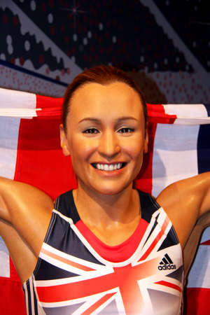 London, - United Kingdom, 08, July 2014. Madame Tussauds in London.  Waxwork statue of Jessica Ennis Created by Madam Tussauds in 1884, Madam Tussauds is a waxwork museum and tourist attraction 新闻类图片