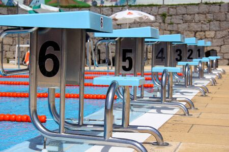 View of a diving boards in a  pool