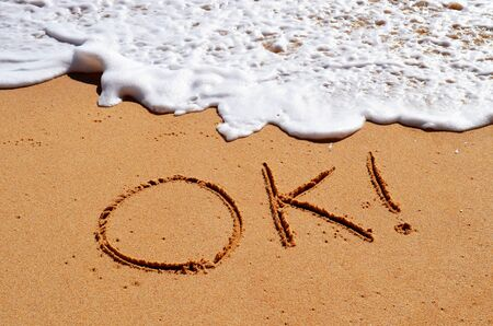OK written in the sand