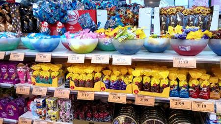 Portugal, Algarve. Circa 02 03 2018. Easter eggs for sale in a Intermarche supermarket.