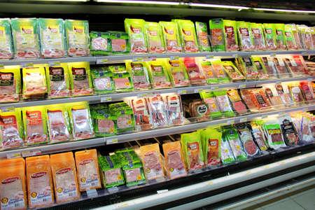 Monchique, Algarve, Portugal. 27. 11. 2013. Selection of ham and salami for sale in a supermarket