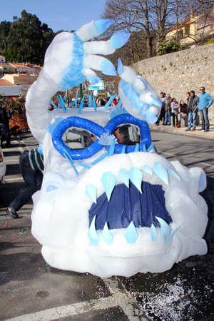 Monchique, Algarve, Portugal. Circa February 2014. School Carnival car float in a Carnival in the streets of the mountain town of Monchique in Algarve Portugal.