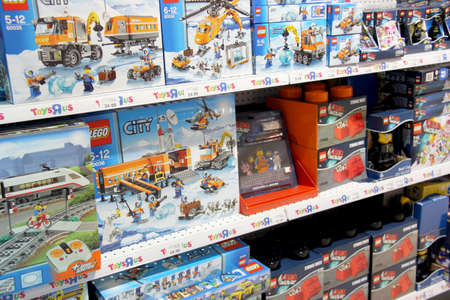 England Kent. Circa July 2014. Lego displayed for sale on shelves in a toysrus store in England. The LEGO Group was founded in 1932 by Ole Kirk Kristiansen River Island Store Editorial