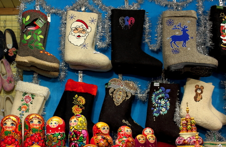 Moscow, Russia - december 8 2017: Traditional nationality Russian felt. Valenki and matryoshka historical souvenirs from Russia.