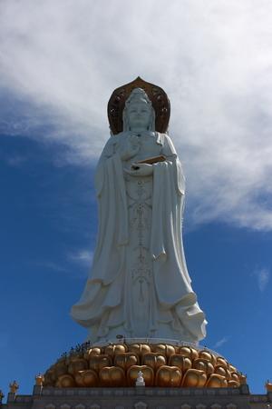 Sanya, Hainan, China - September 29, 2017: Statue of the goddess Guanyin in Nanshan Buddhist Cultural Centre
