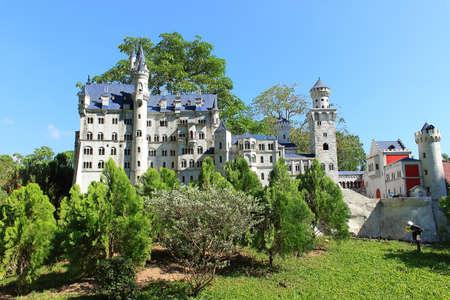 Pattaya City, Chonburi Province, Thailand - Mart 17, 2018: Mini Siam miniature park - replica sight of Germany Neuschwanstein castle