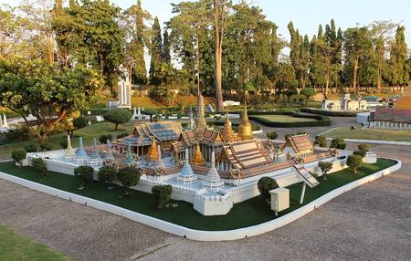 Pattaya City, Chonburi Province, Thailand - Mart 17, 2018: Mini Siam miniature park - replica The Royal temple of the Emerald Buddha or Wat Phra Si Rattana Satsadaram landmark of Bangkok, Thailand. Editorial