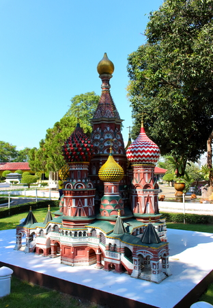 Pattaya City, Chonburi Province, Thailand - Mart 17, 2018: Mini Siam miniature park - replica sight of Russia St. Basil's Cathedral in Moscow's Red Square