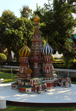 Pattaya City, Chonburi Province, Thailand - Mart 17, 2018: Mini Siam miniature park - Replica of St. Basil's Cathedral in Moscow's Red Square Russia