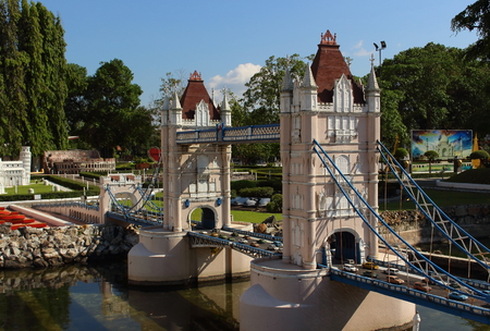 Pattaya City, Chonburi Province, Thailand - Mart 17, 2018: Mini Siam miniature park - replica sight of England Tower Bridge London