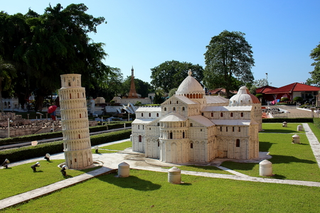 Pattaya City, Chonburi Province, Thailand - Mart 17, 2018: Mini Siam miniature park - Replica sight of Cathedral group of Pisa and Tower of Pisa landmark Italy