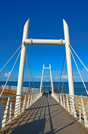 Cable-stayed footbridge leading to the Atlantic Ocean in Casablanca, Morocco