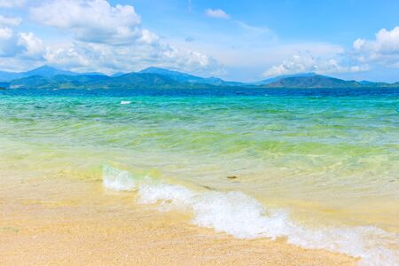 Beautiful beach with azure water and moody sky. Tropical vacation travel or luxury travel summer holiday background concept. Philippines paradise beach