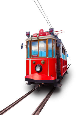 Istanbul red retro tram isolated on white background. Travels between Taksim and Tunnel. Translation: Tunnel