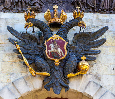The double-headed eagle on Peter Gate of Peter and Paul Fortress at Saint Petersburg, Russia. Coat of arms of the Russian Empire