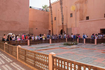 Marrakesh, Morocco - 13 October, 2019: Tourists queue waiting looking of the Saadian tombs.