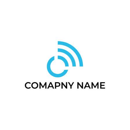 Wireless logo design for letter O  イラスト・ベクター素材