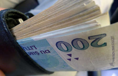 Lithuanian cash Litas, was in circulation before the adoption of the euro, cash Litas